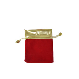 Wholesale Small Velvet Jewelry Pouches - Small Red Velvet Jewelry Pouch, Gift Packaging Bags Gold Organizer 7*9CM 100pcs