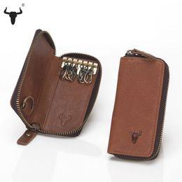Wholesale Trunk Cases Vintage - Wholesale-Top Grain Leather Key Wallets High-Quality Cowskin Man Key Bag Woman Key Case Casual Key Package Vintage Cowhide Key Holder