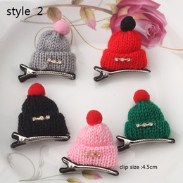 Wholesale Wholesale Diamond Barrette - 6style available ! Christmas gift! Children Diamond Gift Cute Headwear Wool Hat Hair Clips Cap Hairpins Girls women Barrettes 30pcs