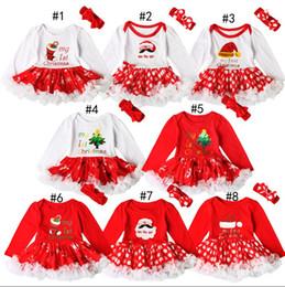 Wholesale Christmas Tutu Patterns - Christmas Baby Rompers Autumn Xmas pattern Santa Claus Girls clothes Lace Long Sleeve Princess Dress Romper + Bow headbands 2pcs sets C1849