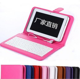 Wholesale Tab Usb Port - niversal 7 8 9 9.7 10.1 inch tablet PC micro keyboard PU leather case usb port stand holder flip case cover for samsung galaxy tab xiaomi