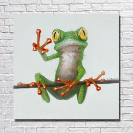 Telai di legno poco costosi online-Dipinto ad olio dipinto a mano di immagini di cartone animato rana senza cornice in legno di grandi dimensioni su tela a buon mercato