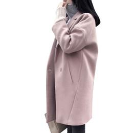 Шерстяные пальто розовые онлайн-Зимнее женское розовое шерстяное пальто с длинным толстым женским пальто Свободный свободный кардиган Женские шерстяные куртки Пальто Sobretudo Feminino