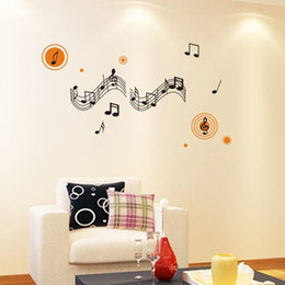 Wholesale Paper Planes Music - Large Size 62*34'' Happy Note Music Wall Stickers Music Decal Wall Arts Wall Paper Sticker Home Decor Art Mural
