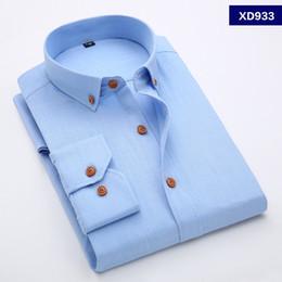 Wholesale Flax M Dress - Wholesale-Brand High Quality Linen Shirt Men Long Sleeve Men's Casual Business Shirt Flax Mens Dress Shirts Plus Size XS-4XL 5XL