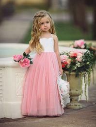 Wholesale Cheap Wholesale Beach Balls - Pageant Dresses For Girls Spaghetti Sleeveless Flower Girl Dresses Cheap Pink Kids Ball Gowns Wedding Dress Wear Sleeveless Long Beach Girls