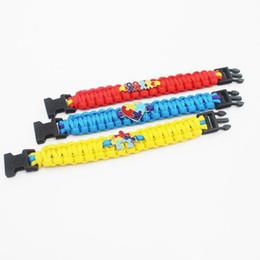 Wholesale Ribbon Autism - New Love Autism Awareness Ribbon Puzzle Paracord Survival Friendship Womens Girls Ladies Bracelets