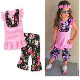 Wholesale Cute Pants Outfits - 2Pcs Girls Clothing Sets Cotton Pink Tshirts+Black Floral Pants Fashion Outfits Children Clothing 2-7T E17142