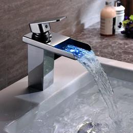 Wholesale Led Chrome Faucets - Copper sink faucet waterfall faucet LED single hole brass chrome bathroom basin faucet