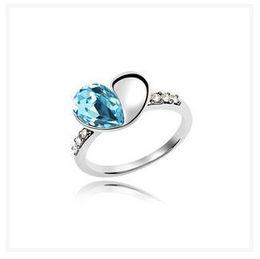 Wholesale 925 Sterling Silver Czech Crystal - New Luxury Czech Diamond Jewelry ring Alloy Heart shape Austria Crystal Wedding dress 925 sterling silver plated rings