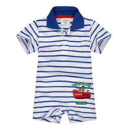 Wholesale Handsome Baby Girl - Handsome Baby Rompers Turn-down collar baby boy clothes Stripe Infant costumes polo shirts newborn clothes