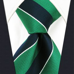 Wholesale Men Striped Neckties - Y27 Navy Green Striped Extra Long Size Men Ties Neckties