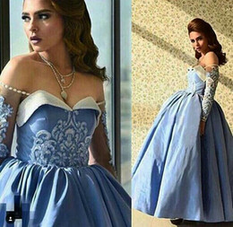 Wholesale taffeta long evening dresses - 2017 Blue Prom Dresses Ball Gown Off the Shoulder Beaded Sweetheart Neckline Illusion Long Sleeves Ankle Length Taffeta Evening Gowns