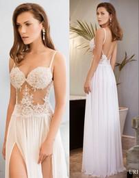 Wholesale Spaghetti Backless Crystal Wedding Dress - Lace Backless Beach Wedding Dresses Spaghetti Beaded A-line Chiffon Bridal Dresses High Split Sexy Wedding Gowns