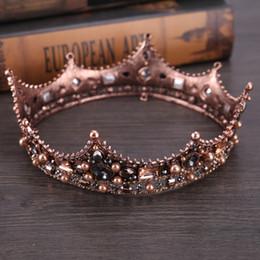 Wholesale Black Rhinestone Tiara - Vintage Black Rhinestone Beads Round Big Crown Wedding Hair Accessories Luxury Crystal Queen King pageant princess Crowns Bridal Tiaras
