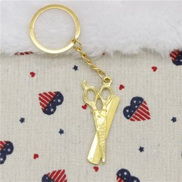 Wholesale Vintage Metal Comb - Wholesale New Fashion Women&Men 30mm Key Chain DIY Metal Holder Chain Vintage barber scissor comb stylist 24*53mm Silver Bronze Gold Pendant