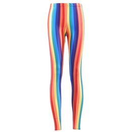 Wholesale Ankle Shop - Wholesale- Hot SEXY Women's Rainbow Vivid Vertical Stripes Leggings Digital Print Pants Trousers Stretch Pants Drop Shop