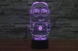 Wholesale Minion Christmas Lights - 2017 New Style Minions 3D Optical Illusion Light 9 LEDs Acrylic Light Panel DC 5V Factory Wholesale