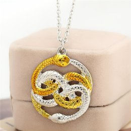 Wholesale Film Animals - 2018 Movie Jewelry Series The Neverending Story Movie Necklace Double Snakes Gold Silver Loki Film Pendant Necklaces ZJ-0903378