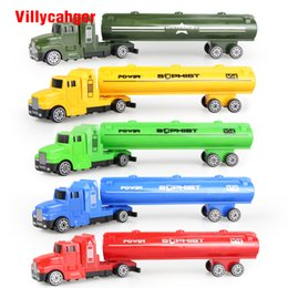 Wholesale Die Cast Toys - 5 colors oil tank truck Die cast Car alloy truck with Plastic Engineering car model Toy Classic Toy Mini gift for child