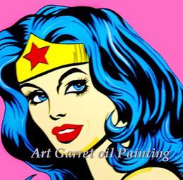 Lienzo enorme pinturas al óleo abstractas online-Envío gratis pintado a mano enorme arte abstracto moderno de la pared para la decoración del hogar arte pop lienzo pinturas al óleo chica imagen para la sala de estar