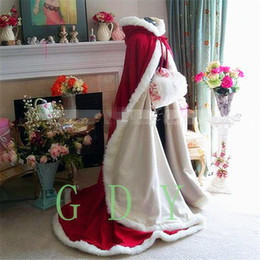 Wholesale Sleeveless Bridal Bolero - Winter Fur Bridal Wraps & Jackets with Hat Red and White Floor Length Two Pieces Long Wedding Cloak Capes Bolero Free Shipping