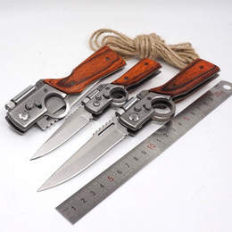 Wholesale Fold Gun - AK47 Gun Knife Folding Army Pocket Knife 440 Steel Blade Wooden Handle Tactical Camping Survival Knives With LED light Outdoors EDC Tool