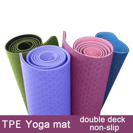 Wholesale Deck Pads - 6mm TPE Slim Yoga Mat Non-slip Double-deck Two-color Environmental Tasteless Gym Fitness Exercise Pad Dance Practice Mats KA11