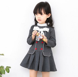 Wholesale Girl Lace Sweater - Girls Spring Autumn Sweater Dress Long Sleeve Lace Bow Tie Fashion Children Baby Kindergarten Girls Dress College Style KB521