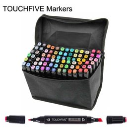 Wholesale Office Gifts Pen - Touch Brush markers pen professional 2 heads painted touch 5th markers pens free bag designs Drawing painting art pens brush 168 colors gift