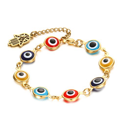 Wholesale evil eye glass beads bracelet - 8MM Hamsa Hand Colorful Evil Eye Murano Glass Beads Bracelet