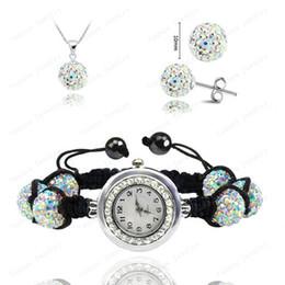 Wholesale Shamballa Watch Black - Wholesale Fashion Watch Crystal Shamballa Set Crystal Pendant+Bracelet+Crystal Earring Jewelry Set 10MM Disco Ball Free Shipping