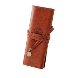 Wholesale Leather Makeup Brush Case - new papelaria bag Retro Roll Leather Folding strap Cortex Makeup cosmetic Bag Brush Pen Case Organizer Pouch Purse bags 81057