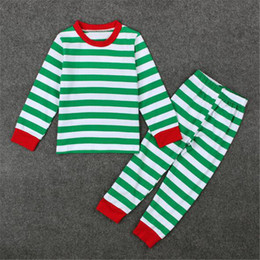 Wholesale Christmas Pajamas For Toddlers - Soft Girl Clothing Sets Striped Christmas Clothing Sets for Winter Nightwear Pajamas Set Sleepwear Boy Toddler Clothes