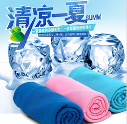 Wholesale Cool Neck Tie - 500pcs Creative Cold Towel Exercise Sweat Summer Ice Towel 90*35cm Sports Ice Cool Towel Hypothermia Cooling Scarf Ties Neck Scarves