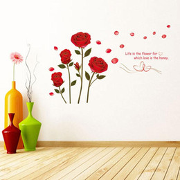 Wholesale Decoration Flower Pieces For Paper - Rose Flower Wall Paper Decal Art Stickers for Home Decoration Living Room Bedroom Sofa TV Background Wallpaper Wall Stickers