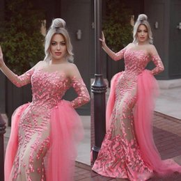 Wholesale Taffeta Lace Skirt - 2016 Gorgerous Pink Over Skirt Evening Dresses 3D-Floral Jewel Long Sleeves Illusion Chapel Detachable Train Prom Gowns