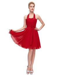 2019 chicas sexy cortas túnicas Vestidos de Coctel Vestidos de coctel cortos 2019 Vestido de fiesta Sexy Cuello de halter Rojo Azul Púrpura Vestido de cóctel para niñas Robe de velada chicas sexy cortas túnicas baratos