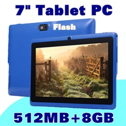 Wholesale Cheap Dual Camera Tablets - cheap tablets wifi 7 inch 512MB 8GB ram A33 Quad Core Allwinner Android 4.4 Capacitive Tablet PC Dual Camera facebook Q88 Flashlig K-7PB