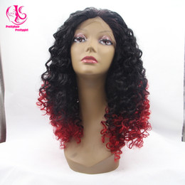 Wholesale Two Toned Blue Lace Wig - Hot! Free shipping two tone black to red curly wig ombre glueless wig synthetic lace front wig heat resistant for woman