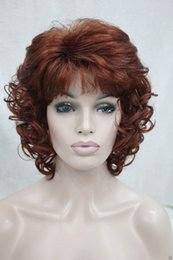 "Wholesale Wigs Short Hair Red - New Elegant Hivision Curly 14"" Fox Red 130 Synthetic Hair Full Women's Short Wig"
