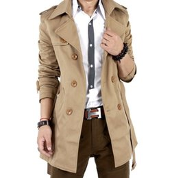 Wholesale trench jacket suit - Wholesale- SALE! Autumn NEW Men's Slim Sexy Double Buttons Designed Hoody Jacket Men Trench Coats Long Suits Freeshipping Wholesale 5z