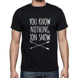Wholesale Snow White Shirts - Wholesale-New Brand Clothing Game Of Thrones You Know Nothing Jon Snow T Shirts Cotton O-Neck Short Sleeve Tops T-shirts Men Camisetas