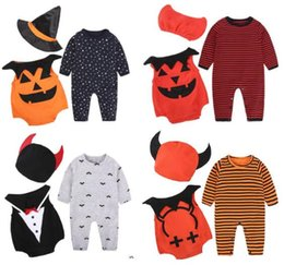 Wholesale Zebra Baby Romper - Halloween and Christmas Devil vampire pumpkin Baby Wings Clothing sets Baby Romper Wizard Devil hat hat