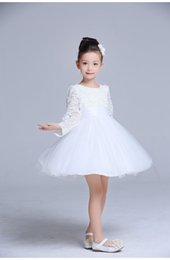 hochzeitskleid ems Rabatt EMS / DHL geben Herbst-und Winter-Kind-langärmliges Spitze-Hochzeits-Kleid-Prinzessin TuTu Skirt Flower Girl Dress Wedding Show frei