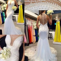 Wholesale open back pearl wedding dress - 2017 Luxury Mermaid Wedding Dresses White Chiffon High Neck Sleeveless with Pearls Open Illusion Back Sweep Train Custom Made Bridal Gowns