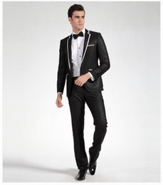Wholesale Tie Gown Collar - The latest hot sale high quality black gun collar buttons groom suit dress ball gown (coat + tie + pants)