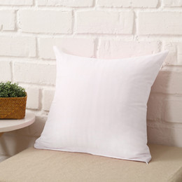 Wholesale Wholesale White Pillows - 45 * 45CM White Home Sofa Throw Pillowcases Candy Color Polyester Pillow Cover Cushion Cover Pillow Case Blank Christmas Decor Gift