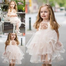 Wholesale Pale Pink Flower - Pale Pink Handmade Flower Girl Dresses Princess Tiered Skirt Knee Length Tulle Formal Dress For Weddings Birthday Kids Pageant Gowns 2017