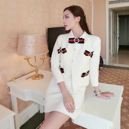 Wholesale knit skirt suit - Autumn New design women's ribbon bow rhinestone patchwork long sleeve knitted coat and skirt 2 pieces twinset OL dress suit SML